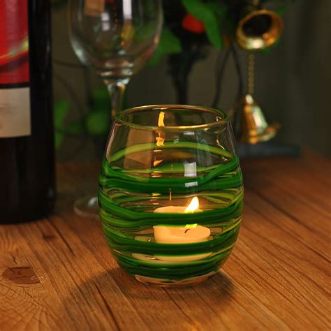 Glass Candle Tray 2015 Swirl Green Color Glass Candle Holder Swirl Candle