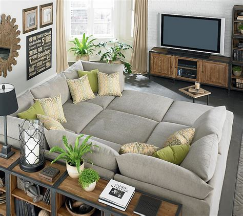movie pit couch pit sectional transitional living room bassett furniture