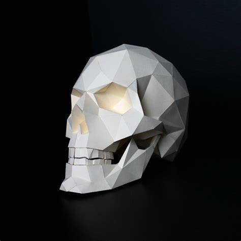 Paper Craft Skull - skull paper craft paper objet realistic low poly 3d