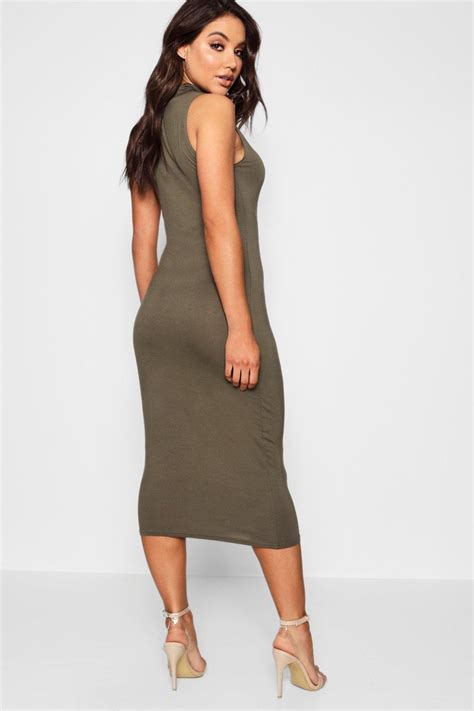 Obralll Turtleneck Bodycon Midi Tl9573 boohoo womens billie turtle neck sleeveless midi bodycon
