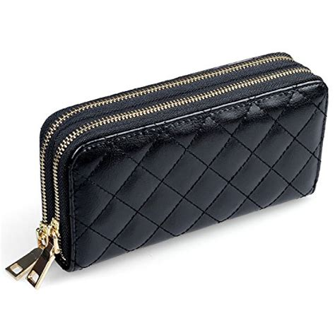 womens leather wallet clutch quilted large handbag