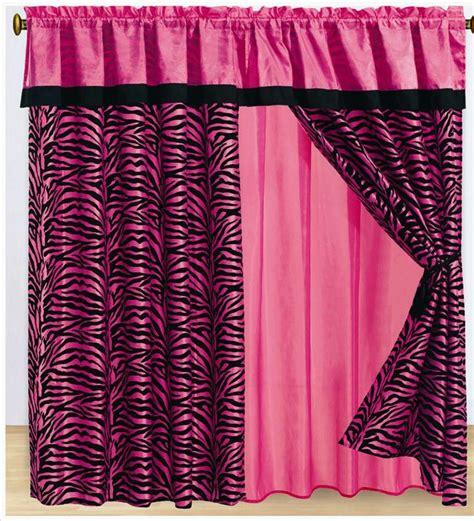 Pink and black zebra print curtains girl s zebra pink zebra window