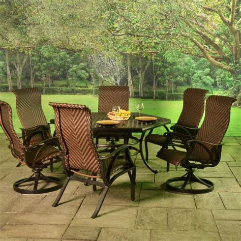Cast Aluminum Patio Dining Sets Sale Stonegate Cast Aluminum Woven Patio Dining Sets Patio Sets Patio Furniture American Sale