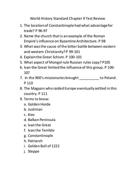 World History Chapter 2 Section 1 Assessment Answers by World History Standard Chapter 9 Test Review