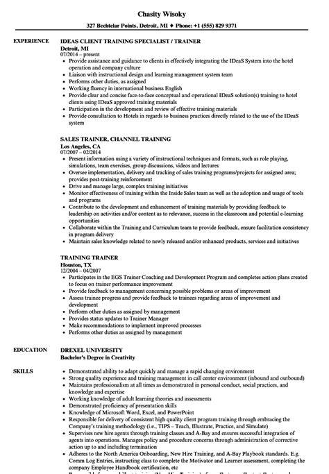 Trainer Resume by Trainer Resume Sles Velvet