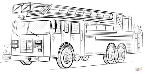 coloring page of a fire truck fire truck with ladder coloring page free printable