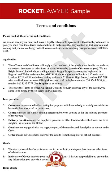 terms and conditions of sale of goods to consumers b2c