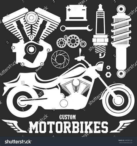 vector motor layout motorcycle parts bike custom garage items stock vector