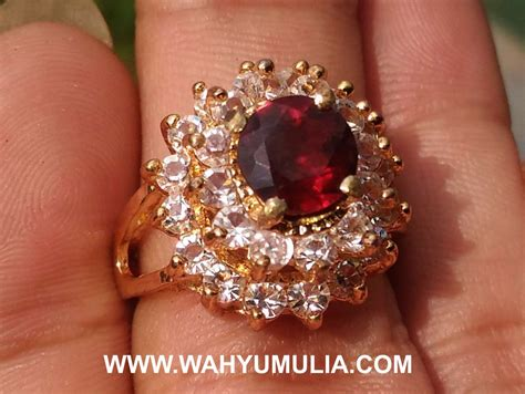 Permata Cincin Garnet batu cincin cewek permata merah garnet kode 492 wahyu