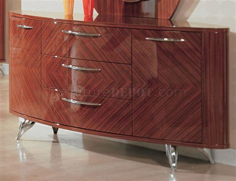 contemporary bedroom set in high gloss cherry finish