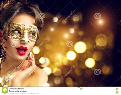 new year model model wearing venetian masquerade carnival
