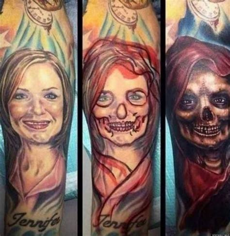tattoo cover up portrait tattoo cover up replaces ex girlfriend with a scary sight
