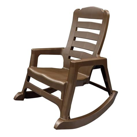 Resin Patio Chairs Shop Mfg Corp Earth Brown Resin Stackable Patio Rocking Chair At Lowes