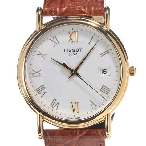 Tissot Gold Leather tissot 1853 18ct gold and leather gent s wrist