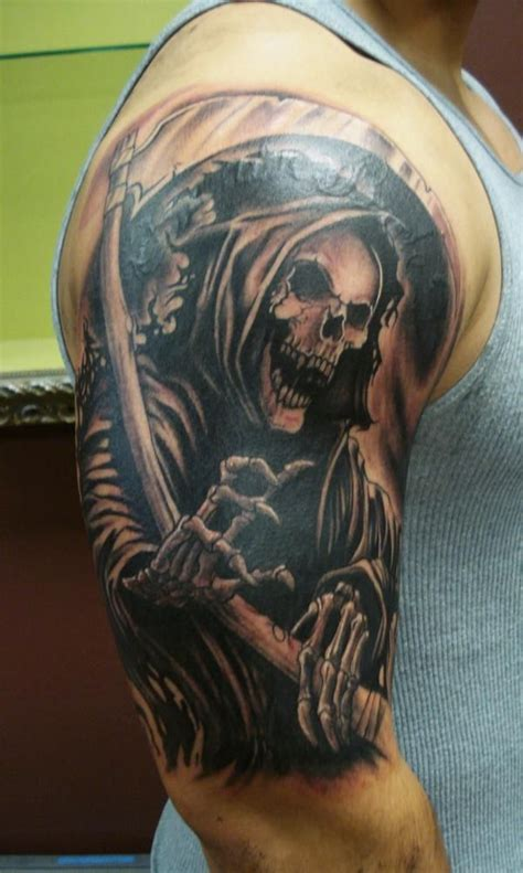 reaper tattoos for men half sleeve grim reaper tattoos