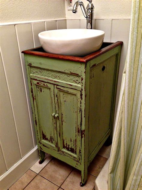 repurposed bathroom cabinet blue roof cabin victrola to vanity cabinet