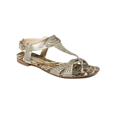 enzo angiolini flat shoes enzo angiolini triton flat sandals in silver bronze lyst