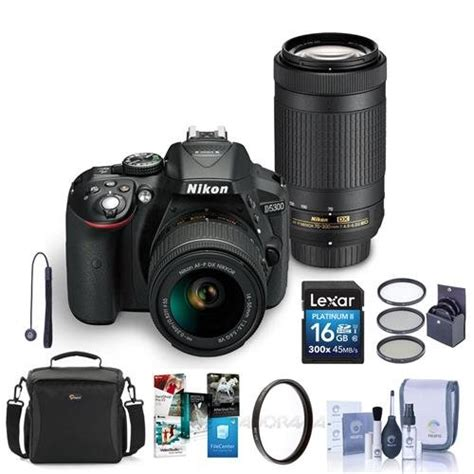 Kamera Dslr Nikon D5300 D 5300 Kit Af P 18 55mm Vr 1 nikon d5300 dx format dslr kit black w af p dx 18 55mm f 3 5 5 6g vr and af p dx 70 300mm f 4 5
