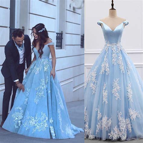 light blue off the shoulder dress light blue ball gowns prom dresses 2018 lace appliques