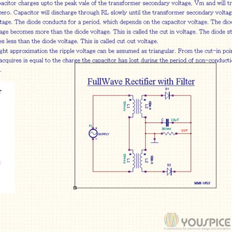 rectifier filter capacitor calculator wave rectifier with capacitor filter youspice