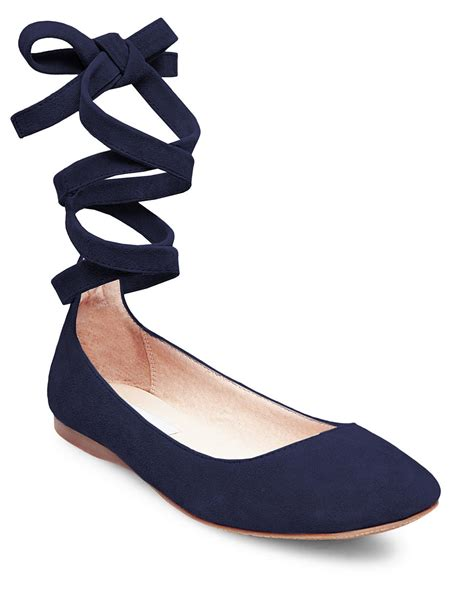 steve madden bloome suede tie up ballet flats in blue lyst