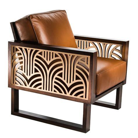 deco leather lounge chair twist modern