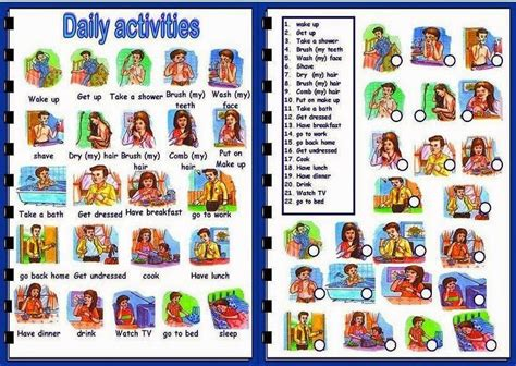 Daily Reguler daily activities verbs list in learn