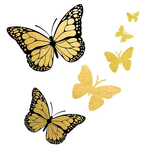 gold and black butterfly monarch flash temporary metallic