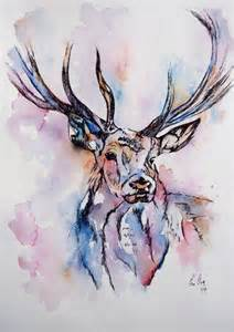 Colourful deer illustration watercolor painting by fiona clarke com