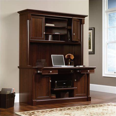 sauder palladia computer desk with hutch in cherry sauder palladia credenza hutch select cherry computer