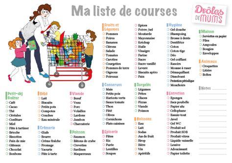 Liste De Courses by Free Imprimables Liste De Course Le Des