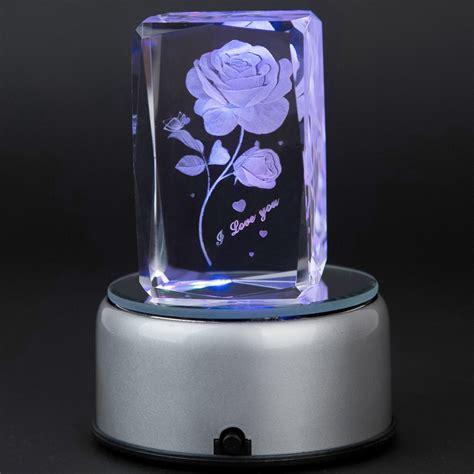 laser engraved crystal with lighted led base valentine s day gift ღ ღ 3d 3d laser crystal subsurface