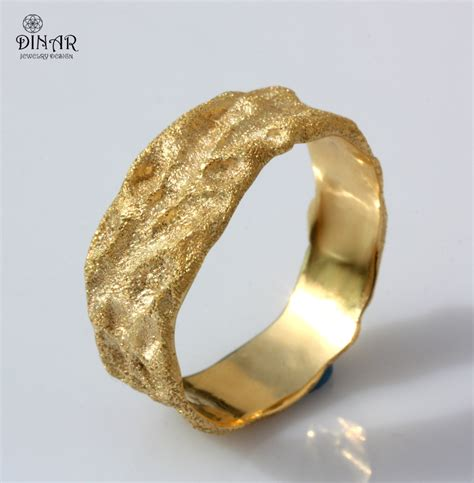 Rustic Gold Wedding Band 18k Solid Gold Men Band By