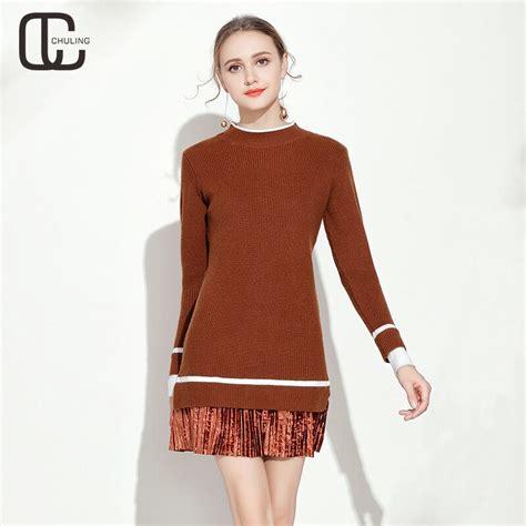 autumn winte women knit patchwork elegant casual dresses