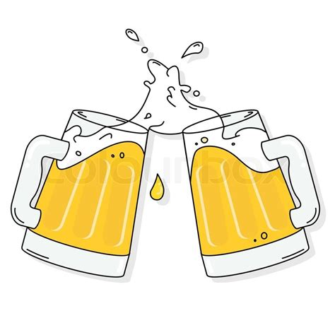 cartoon beer cheers two beer mug cheers splash on white background stock