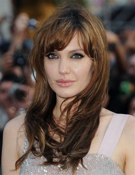 how to hairstyles with bangs angelina jolie hairstyles long hairstyle with short bangs