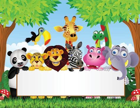 film cartoon zoo animal cartoon and blank sign stock vector colourbox