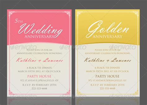 invitation templates for photoshop anniversary invitation template 16 documents in