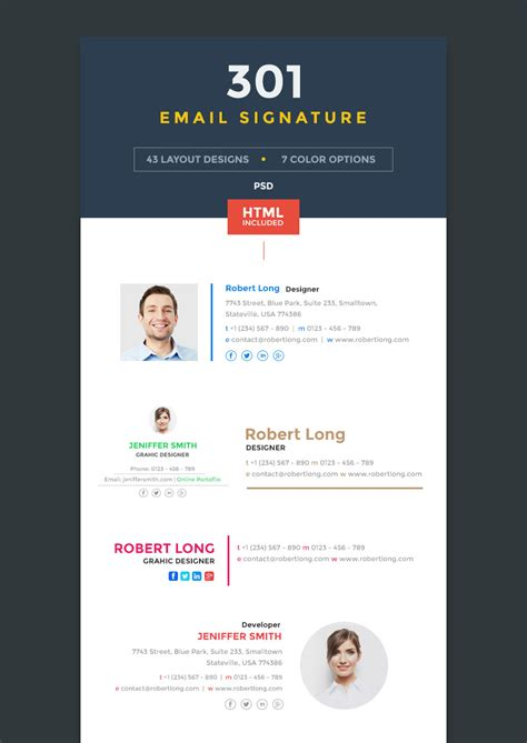 10 free email signature templates by zippypixels dribbble