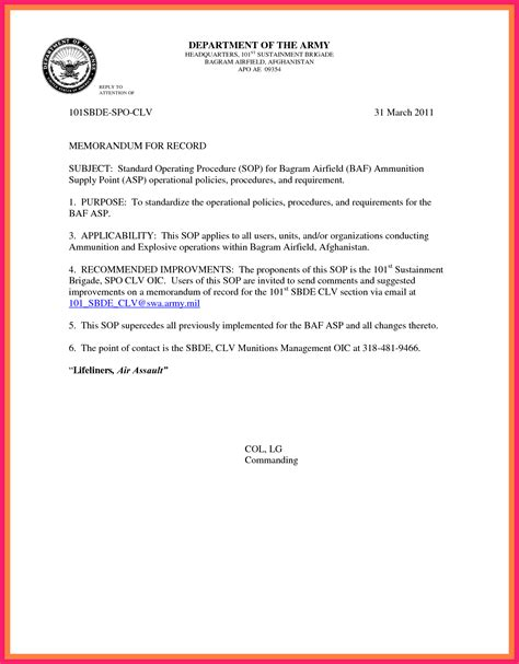 memorandum for record army bio letter format