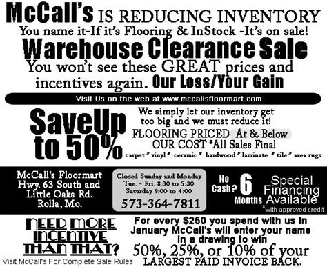mccall s floor mart rolla mo 65401 187 746 39784