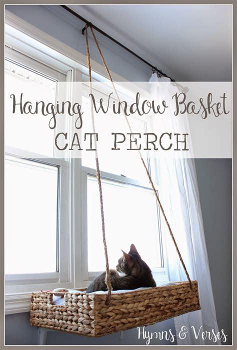 diy hanging window basket cat perch hymns  verses