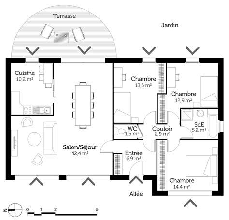 Superbe Comment Dessiner Son Jardin #9: 4-plan-maison-individuelle-traditionnelle-100m2.jpg