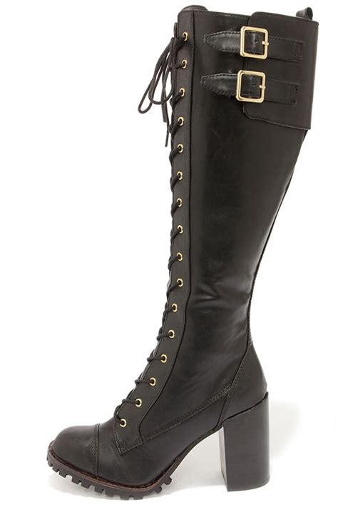 laced up high heel boots black boots knee high boots lace up boots high