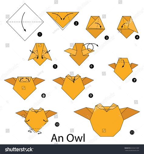 Make An Origami Owl - step by step how make stock vector 653421409