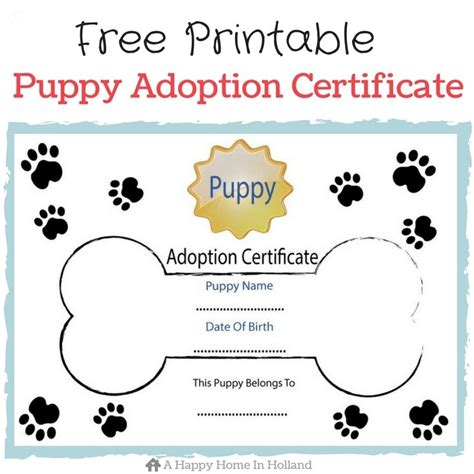 Printable Puppy Adoption Certificate children s themed ideas lots of ideas and