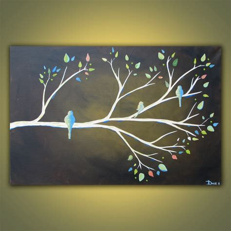 acrylic painting on canvas birds branch original acrylic bird painting on canvas 3ft x