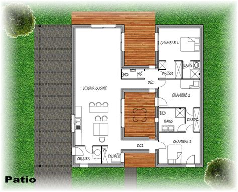 plan maison avec patio central toutes nos maisons contemporaines patio en limousin