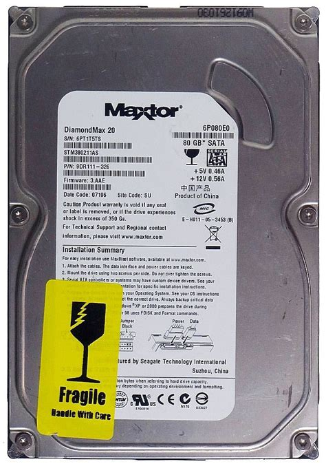 Harddisk 80gb 80gb hdd disk drive maxtor diamondmax 20 6p080e0 sata