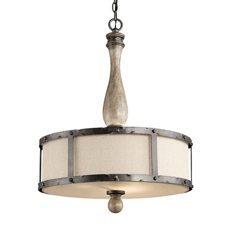 Shop Kichler Lighting Evan 20 In W Distressed Antique Gray Fabric Pendant Lights